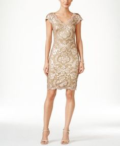 Tadashi Shoji Double-V Sequin Sheath Dress | macys.com