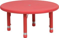 Kids' Tables - Flash Furniture YUYCX0072ROUNDTBLREDGG 33Inch Round Height Adjustable Red Plastic Activity Table >>> Find out more about the great product at the image link.