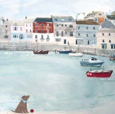St Ives Framed at Whistlefish - handpicked contemporary & traditional art that is high quality & affordable. Seaside Art, Coastal Art, British Seaside, Beach Art, House Illustration, St Ives, Framed Prints, Art Prints, Naive Art