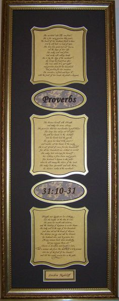 Wedding or Anniversary Gift. Three cutouts in matting show verse and two show the chapter and verse reference. This can be personalized with a name. Proverbs 31 Framed and Matted Calligraphy Scripture Verse in two choices of mat colors. for Wed | Inspirational and Scripture Christian Gifts and Home Decor