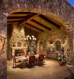 ,Big stone fireplace with dining