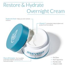 Product Feature: Restore & Hydrate Overnight Cream   #nightcream #moisturizer #brevena #skincare Anti Aging Moisturizer, Anti Aging Skin Care, Cocoa Butter, Shea Butter, Hormonal Changes, Jojoba Oil, Restore, Restoration, Skincare