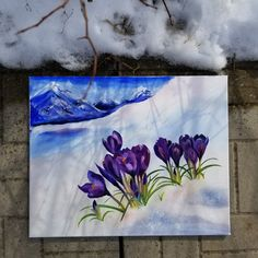 Large Painting, Oil Painting On Canvas, Winter Theme, Spring Theme, Spring Landscape, Watercolor Artwork, Painting Edges, Paintings For Sale, Home Art