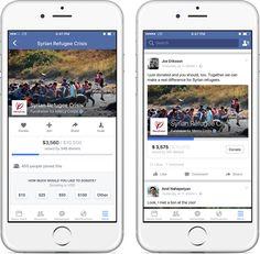 Fundraisers auf Mobile und als geteilte Mitteilung (Quelle: Facebook)
