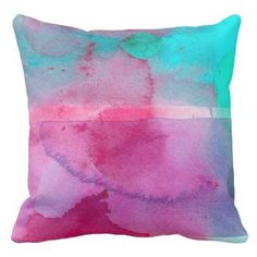 Pink and Purple watercolor pillows | Watercolor Home Decor