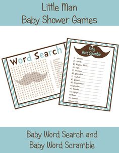 LITTLE MAN Mustache Baby Shower Printable GAMES- - 2 Pack on Etsy, $5.00
