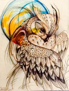 Owl Tattoo Drawings, Animal Drawings, Art Drawings, Owl Tattoo Design, Tattoo Designs, Arm Tats, Anime Recommendations, Owl Art, Henna Designs