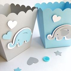 Excited to share the latest addition to my #etsy shop: Blue Gray Elephant Favor Boxes Boy Baby Shower Decorations Elephant 1 st Birthday Decor Popcorn Paper Party Blue Gray Containers #decoracionbabyshower