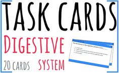 20 task cards about the digestive system.In the zip file you can find a presentation with the task cards, and also two .pdf files:- One of them has two task cards per A4 page;- The other one has one task card per A4 page.You can print the size that you prefer and then cut the cards, glue the two sides together and laminate them.