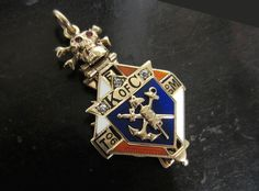 Late Edwardian Grand Knight, Knights of Columbus Diamond Watch Fob Antique Earrings, Antique Jewelry, Knights Of Columbus, Grand Cross, Royal Jewels, Skull And Crossbones, Brilliant Diamond, Coat Of Arms, Black Enamel