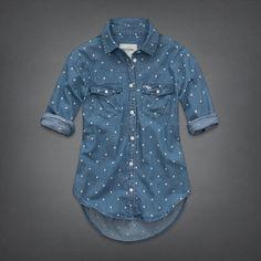 NWT ABERCROMBIE KIDS GIRLS EASY FIT Kirstie Dot Denim Shirt MEDIUM WASH SIZE XL