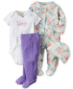 Carter's Baby Girls' 4-Pc. Floral Hat, Bodysuit, Footed Pants & Footed Coverall Set