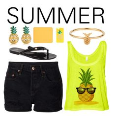 Pineapple style!!Read description please. by sallyrose7 on Polyvore featuring polyvore, fashion, style, NSF, Mel by Melissa, MBLife.com, Lee Renee, Kate Spade and shu uemura