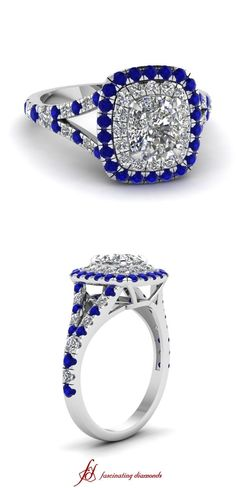 Diamond ring with blue sapphire in 14k white gold