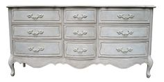 Serpentine Dresser French provincial Painted Furniture, Vintage French Provincial