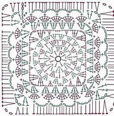 Kate's Crochet World Granny Pattern, Crochet Motif Patterns, Crochet Mandala, Crochet Diagram, Crochet Squares, Crochet Blocks, Motifs Granny Square, Crochet Granny Square Afghan, Granny Squares