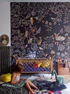 125 großartige Ideen zur Kinderzimmergestaltung - wald inspiration im kinderzimmer wanddeko babywiege