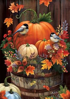 Garden Crafts Hand-painted Fall Pumpkins in a farmhouse oak barrel with wood background, fall leaves and bird - by Gina Jane for Custom Decor Flags, Mailbox Wraps and Yard Art. Autumn Painting, Autumn Art, Fall Paintings, Images Victoriennes, Pumpkin Garden, Pumpkin Art, Autumn Garden, Illustration Noel, Autumn Scenes