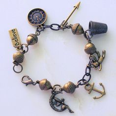 Lost Boys and Peter Pan and Wendy Charm Bracelet III in Antiqued Brass