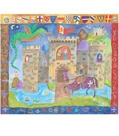 """knight & castle wall hanging by Oopsy Daisy. $165.00. The brave and handsome knight returns to the majestic castle atop his mighty steed. This colorful printed canvas is ideal for a young squire's room. Hand stretched over a wood frame, it measures 24"""" x 18"""". Made in USA. Please allow 2-3 weeks for delivery. (Sorry, express shipping and gift wrapping not available.)"""