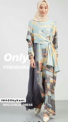 Mallo Dress Blue-Grey Dresses-and-jumpsuit Modern Hijab Fashion, Street Hijab Fashion, Batik Fashion, Modest Fashion, Fashion Outfits, Modest Wear, Modest Dresses, Modest Outfits, Grey Dresses