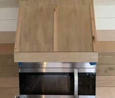 DIY faux vent hood with microwave Microwave Vent Hood, Over Range Microwave, Microwave Cabinet, Microwave In Kitchen, Wood Hood Vent, Kitchen Vent Hood, Upper Cabinets, Diy Cabinets, Mounted Microwave