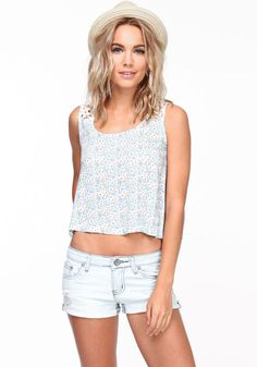 Bloom in this silky and light tank top! Floral print top with gorgeous crochet straps and a loose, airy fit.   http://foxyblu.com/details/82036