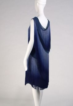Fringed evening dress, layers of shaded blue - Coco Chanel, 1920s - Kent State University