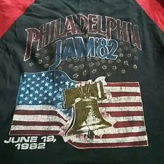 Selling? Concert shirts from concerts I attended back in the day !!  . Not sure if I want to sell them but if I get the right price I will let them go.  I most likely have the ticket stubs for these concerts. .may possibly but up a Tee / Ticket Stub bundle   Philadelphia Jam 1982 tour Tee. 3/4 sleeve.  Red And black. Print run off on left back shoulder. Bought that way. Size medium Vintage Concert Tee Tops Tees - Long Sleeve