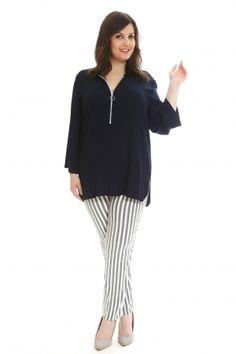 Νέες αφίξεις στα ρούχα μεγάλα μεγέθη - HappySizes Fashion Night, Striped Pants, Night Out, Blouse, Long Sleeve, Sleeves, Tops, Women, Stripped Pants