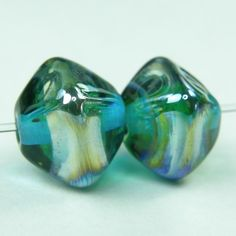 Lampwork Beads Handmade Glass Aqua Blue Crystals With Aurae Band SRA   Covergirlbeads - Jewelry on ArtFire