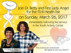 Join Dr. Betty and First Lady @mrsangelprice on Sunday, March 26th immediately following the service for the First Ladies Health Initiative Health Fair in the YAC. We invite everyone to attend this event. Your health is very important to us and this event is free to all. We will see you there! #health #fair #flhi #firstladies #healthinitiative