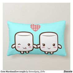 Cute Marshmallow couple Lumbar Pillow What's literally sweet then two cute marshmallows holding hands? Marshmallow Cupcakes, Marshmallow Snowman, Marshmallow Roasting Sticks, Lumbar Pillow, Throw Pillows, Cute Marshmallows, Donut Decorations, Hot Chocolate Mug, Girl And Dog