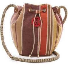 Tory Burch Baja Stripe Drawstring Bag ($250) ❤ liked on Polyvore