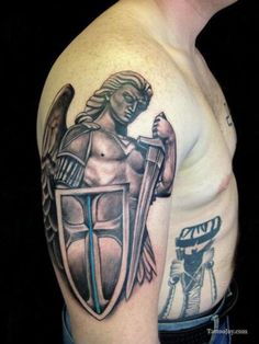 Beautiful archangel michael in armor tattoo on half sleeve - tattoos Armor Sleeve Tattoo, Sword Tattoo, Sleeve Tattoos, Neck Tattoos, Archangel Michael Tattoo, St Michael Tattoo, Trendy Tattoos, Tattoos For Guys, Cool Tattoos