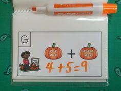 Put cards in a dollar store photo album and use dry erase markers to make a Write-On/Wipe-Off Activity.   $    #pumpkins #pumpkinseed  #fall #autumn #farm #kampkindergarten #addition   https://www.teacherspayteachers.com/Product/Pumpkin-Palooza-Pumpkin-Seed-Add-the-Room-Sums-to-10-2108371