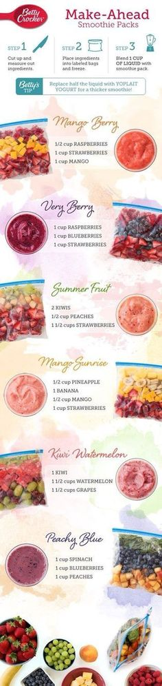 Simplify your morning routine by keeping a freezer full of your favorite smoothie packs on hand so you can wake, shake and be on your way! Source: 6 Make-Ahead Smoothie Packs – Betty Crocker Related Make Ahead Smoothies, Healthy Smoothies, Healthy Drinks, Healthy Snacks, Healthy Recipes, Locarb Recipes, Bariatric Recipes, Delicious Recipes, Quick Recipes