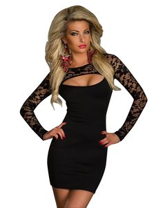 3d71daab0c Kearia Women Sexy Black Lace Long Sleeve Cut Out Clubwear Dress Bodycon  Patry Dress at Amazon