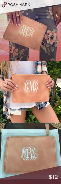 Clutch NWOT I ordered this for my sister and I made a mistake on the initials when I did!  So it's brand new and has the initials MBL on it. i love jewelry Bags Clutches & Wristlets
