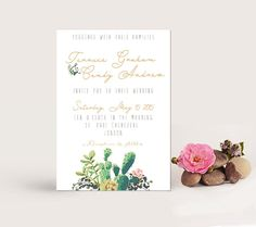 Watercolor Succulent cactus Wedding by LisasGraphicDesign on Etsy