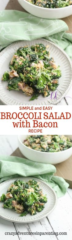 Simple and Easy Broccoli Salad with Bacon Recipe Ham Salad Recipes, Summer Salad Recipes, Bacon Recipes, Drink Recipes, Easy Broccoli Salad, Raw Broccoli, Spinach Salad, Side Dishes Easy, Side Dish Recipes