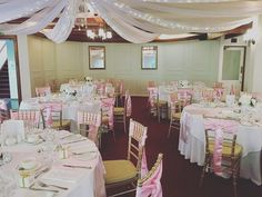 Pink chair sashes #chateauwyuna #receptiondecor #weddinginspo Reception Rooms, Reception Decorations, Table Decorations, Burgundy Room, Chair Sashes, Ranges, Pink, Home Decor, Reception Halls