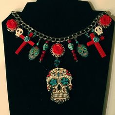 sugar skull necklace cross day of the dead dia by HappyGlamperGals