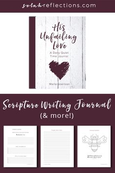 His Unfailing Love: A Daily Quiet Time Journal, is a journey filled with five simple activities to develop your faith, cultivate gratitude, and nurture your creativity, Time Pictures, Keeping A Journal, Daily Devotional, Gratitude, Journaling, Reflection, Prayers, Creativity, How Are You Feeling