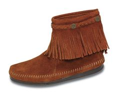Minnetonka Women's Brown Suede Hi Top Back Zipper Boot.    Product # 292    These ankle-high boots feature braided trim and flower-shaped studs above a fringe cuff. Slip-on comfort with a gold-tone back zipper and genuine leather zipper pull.  Heel-to-toe flexible hard sole for comfort and durability. Square-toe shape with whip-stitching detail around the foot.    Color: Brown Suede  Height: 6 inches    Sizes: 5, 5 1/2, 6, 6 1/2, 7, 7 1/2, 8, 8 1/2, 9, 9 1/2, 10, 11