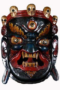 "SOLD Black and Blue Mahakala Mask 14"" Item #1n22 Price: $170.00"