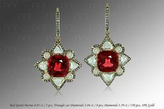 ivy new york earrings ruby | Red Spinel Burma 8.01 ct, Diamonds, 18K Gold, E1240