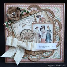 Wow! This card is so stunning by @Arlene Russell Russell Butterflykisses! She used our A Ladies' Diary collection and May Arts Ribbon to make this amazing card. Beautiful! #graphic45 #cards #mayarts