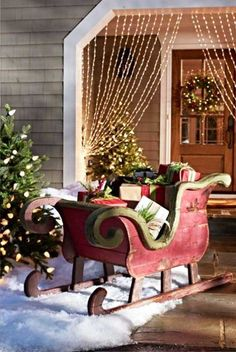 Elegant Sleigh For Christmas Lawn Decorations Porch Country Lights