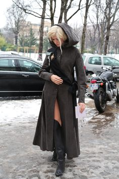 Elena Perminova wearing a Ulyana Sergeenko coat outside her show at PFW. Oh yes, the Russians are bringing it this year. #Alltheprettybirds